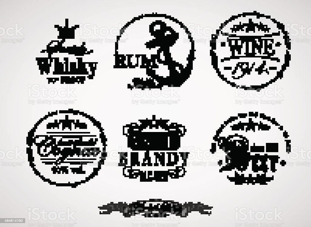 alcohol labels vector art illustration