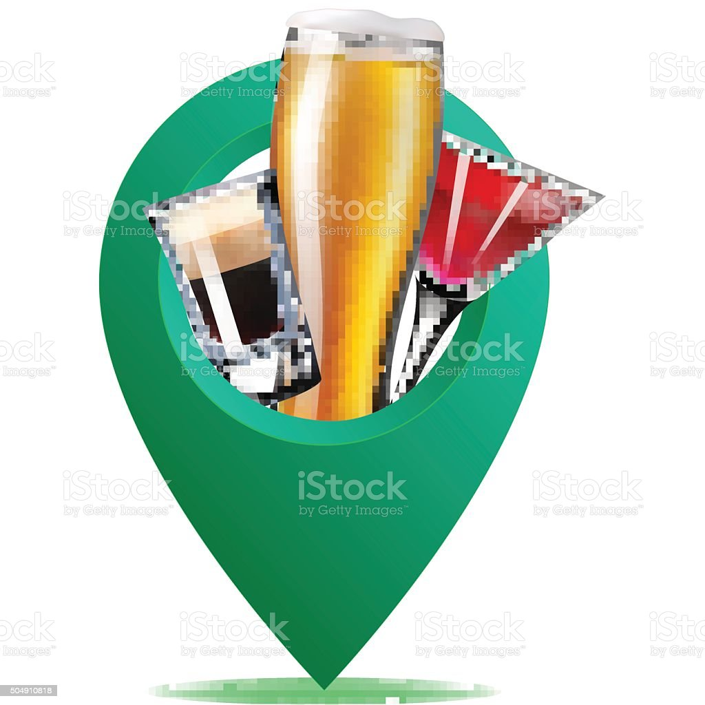 alcohol map point vector art illustration