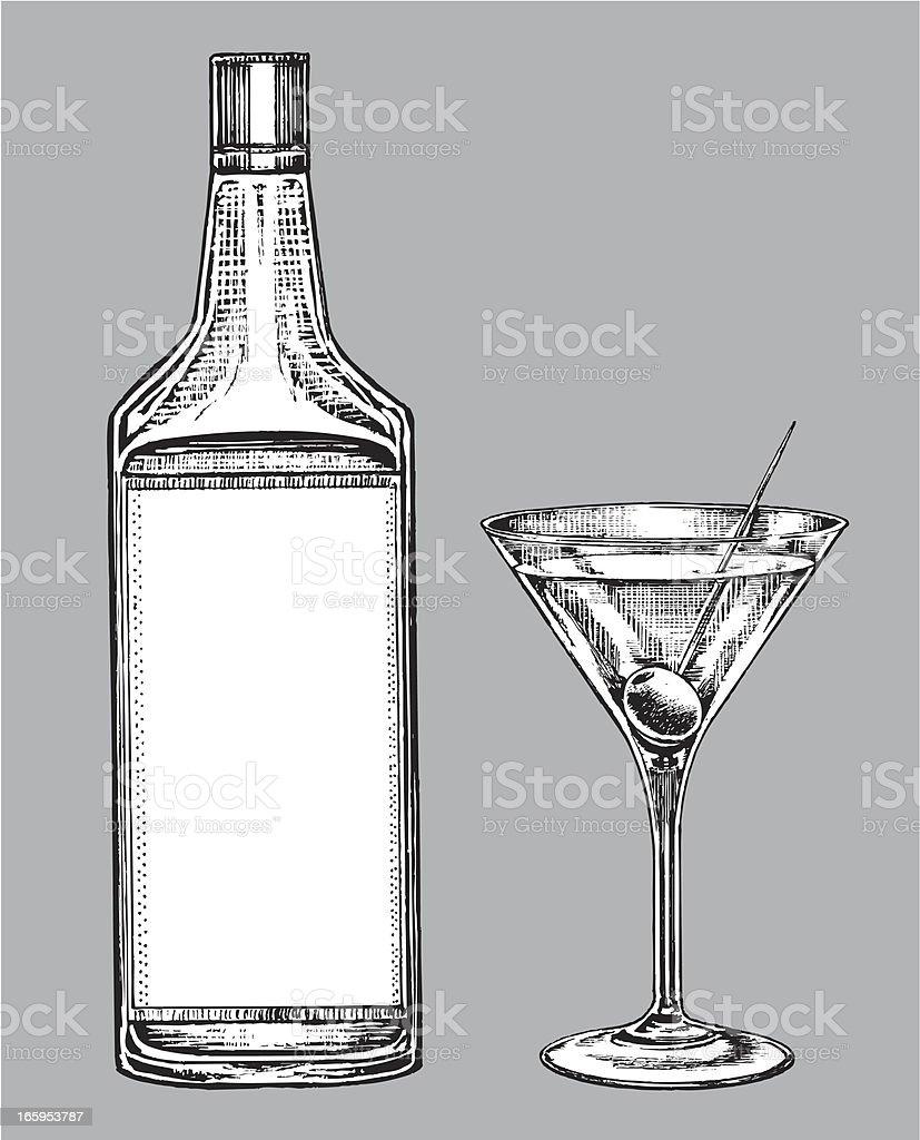 Alcohol - Martini Glass and Gin or Vodka Bottle vector art illustration