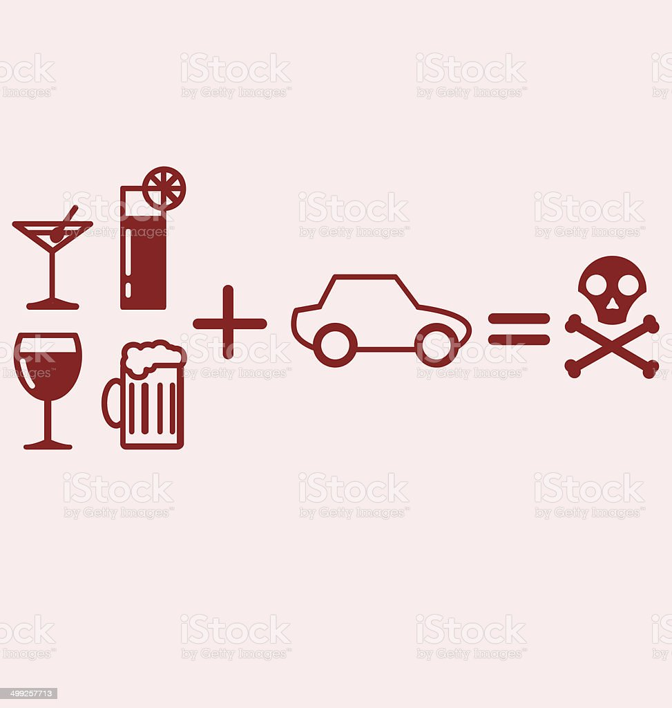 Alcohol plus Driving equals danger vector art illustration
