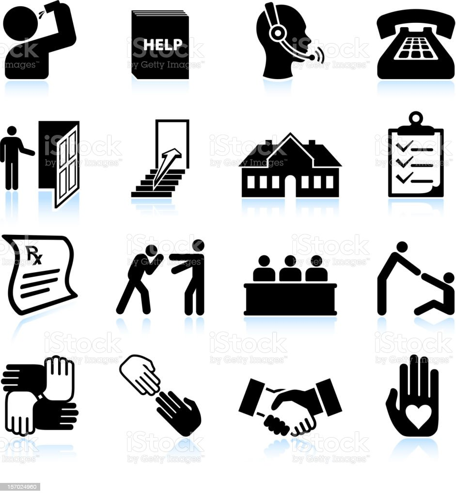Alcohol Rehab and Help black & white vector icon set vector art illustration