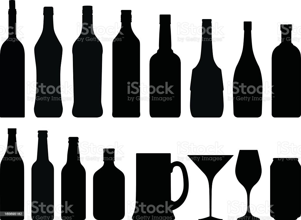 Alcohol Silhouettes vector art illustration