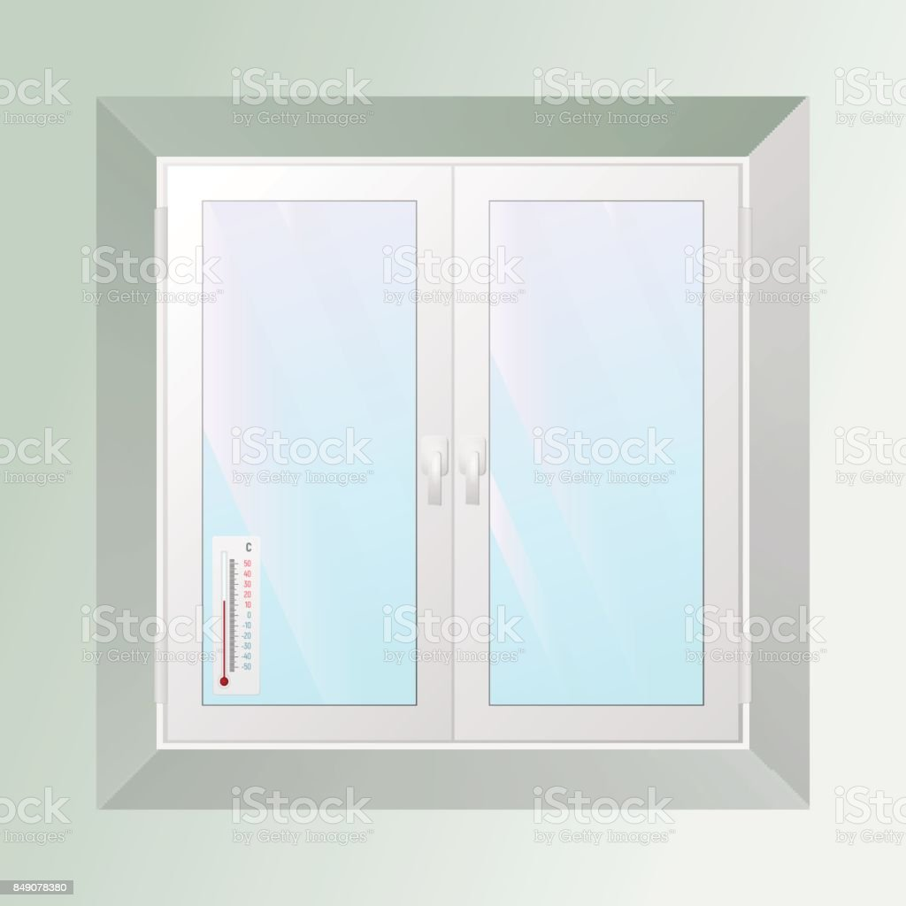 Alcohol thermometer outside the window. Celsius. vector art illustration