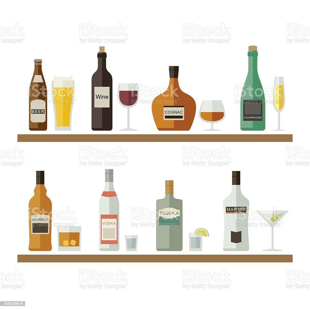 Alcoholic beverages and drinks. vector art illustration