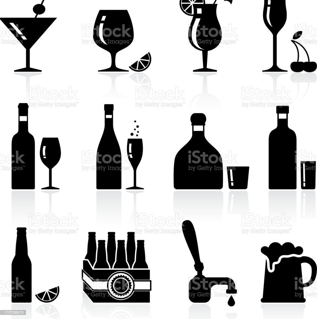 Alcoholic beverages black and white royalty free vector arts vector art illustration