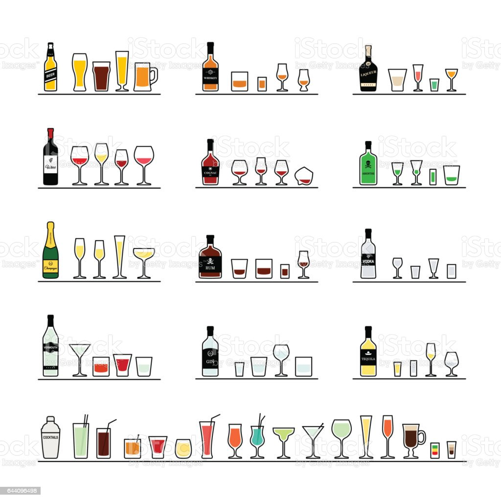 Alcoholic beverages, bottles and recommended glasses. Vector icons set vector art illustration