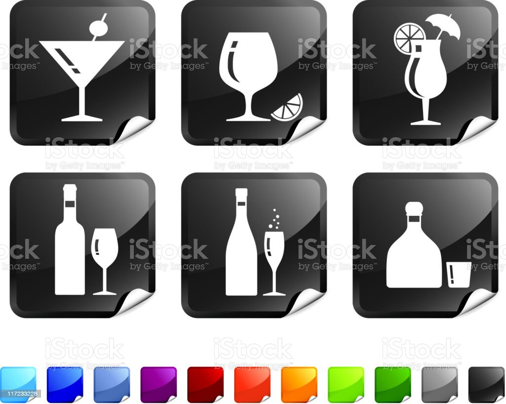 Alcoholic beverages royalty free vector icon set royalty-free stock vector art