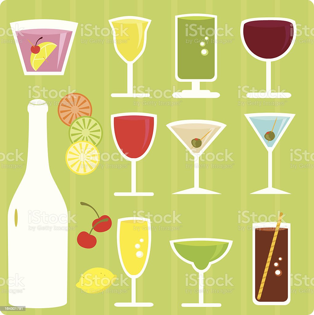 Alcoholic drinks, cocktails, beverages (Colorful Vector Icons) royalty-free stock vector art