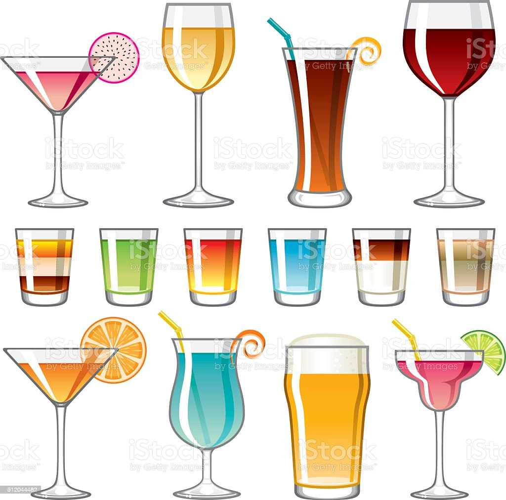 Alcoholic Drinks Icon Set vector art illustration