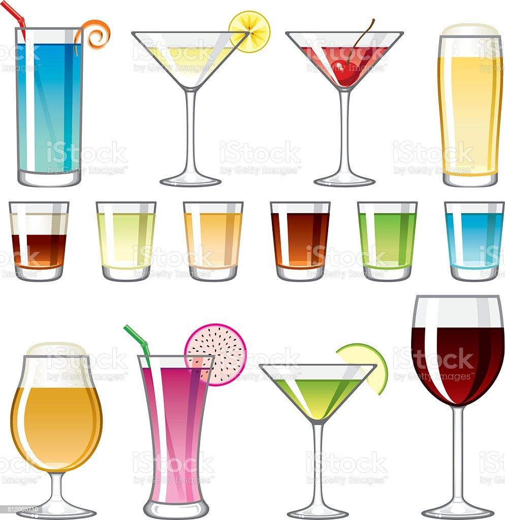 Alcoholic Drinks Icon Set vector art illustration