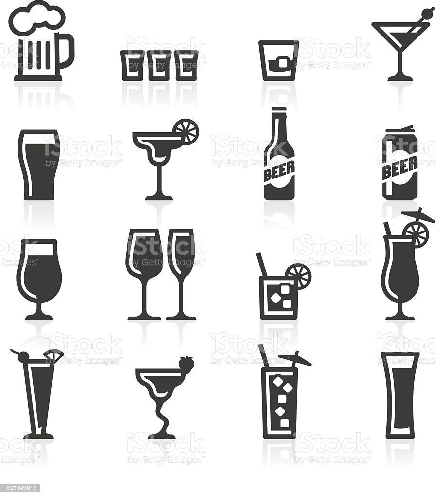 Alcoholic drinks icons vector art illustration