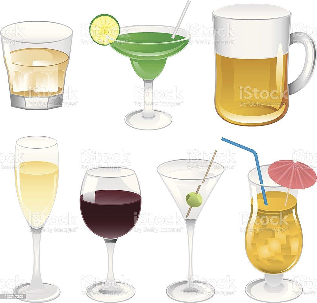 Alcoholic Drinks Illustrations vector art illustration