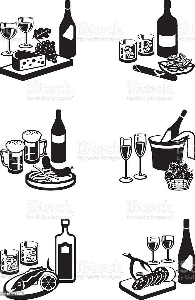 Alcoholic drinks with appetizers vector art illustration