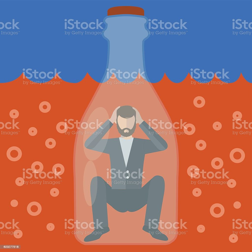Alcoholic man trapped in a bottle, alcoholism vector concept vector art illustration