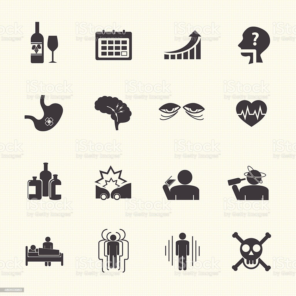 Alcoholism icons set. royalty-free stock vector art