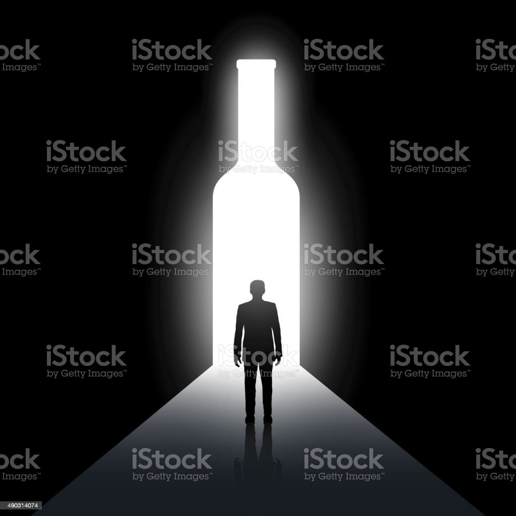 Alcoholism vector art illustration
