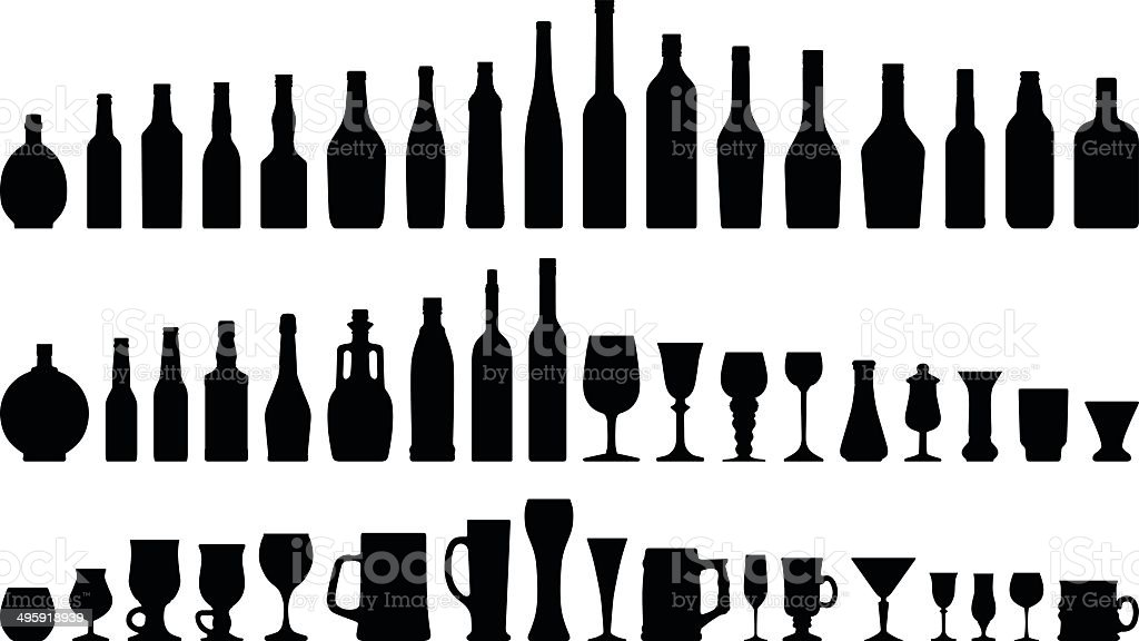 Alcohols Bottles & Glasses vector art illustration