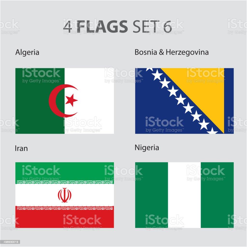 Algeria, Bosnia, Iran and Nigeria Flags (vector Art) vector art illustration