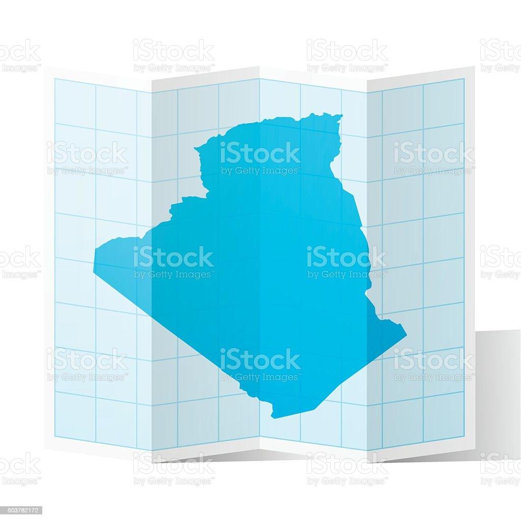 Algeria Map folded, isolated on white Background vector art illustration