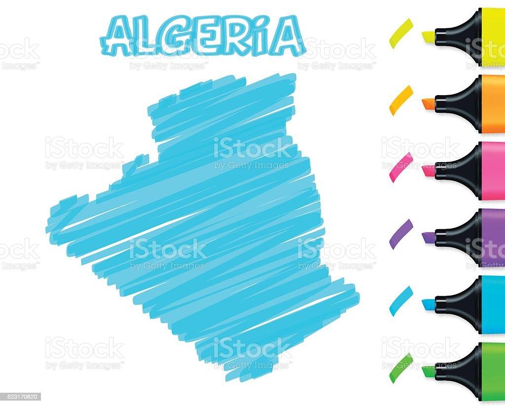 Algeria map hand drawn on white background, blue highlighter vector art illustration
