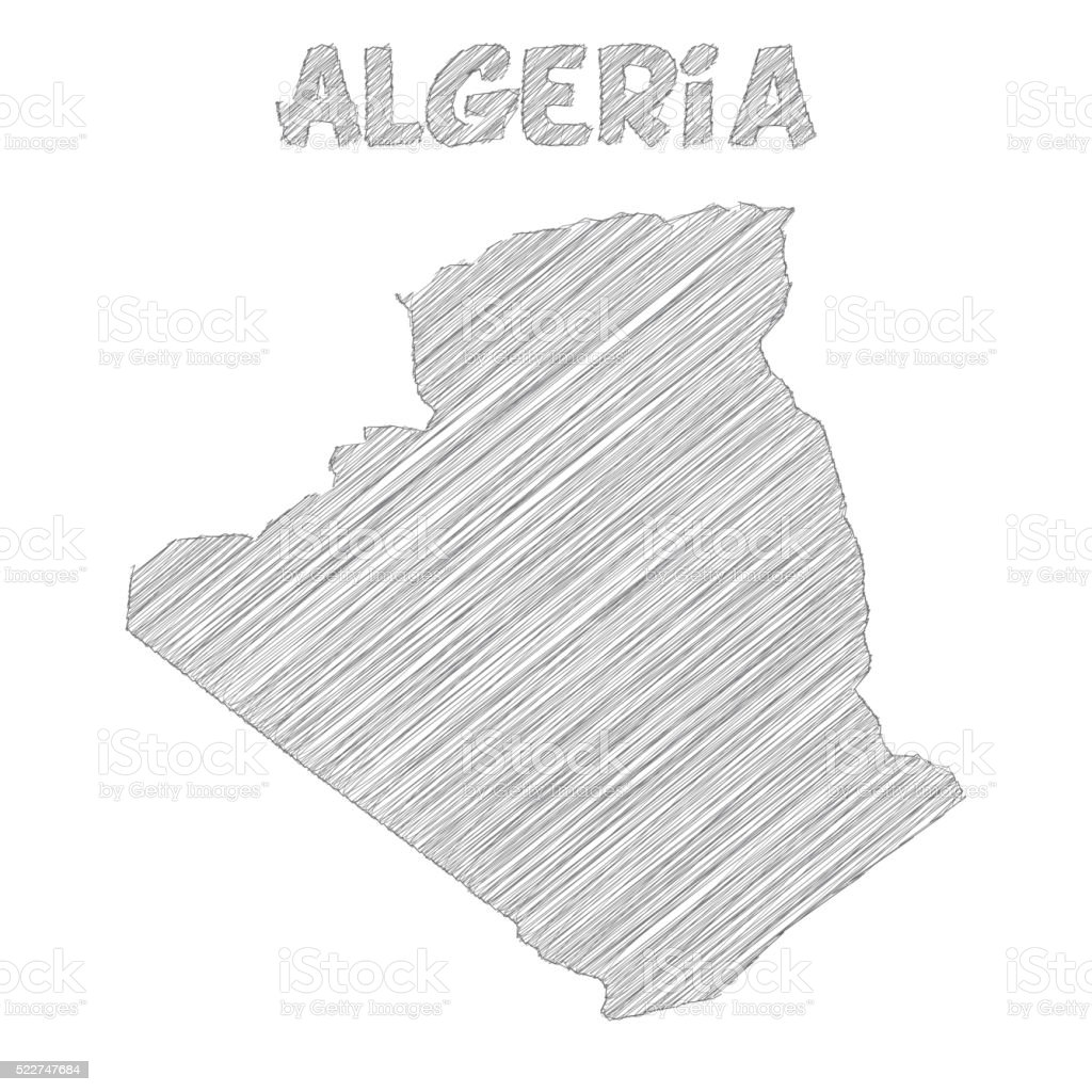 Algeria map hand drawn on white background vector art illustration