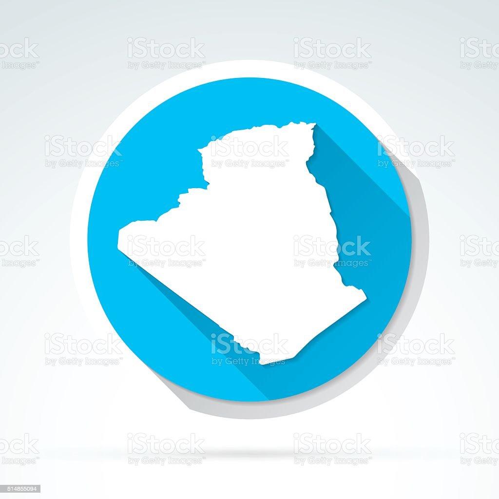 Algeria map icon, Flat Design, Long Shadow vector art illustration