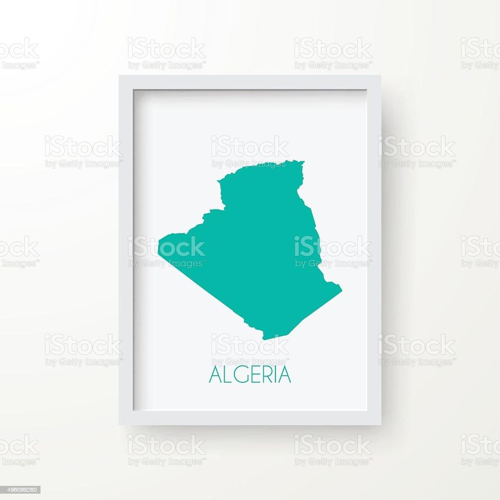 Algeria Map in Frame on White Background vector art illustration