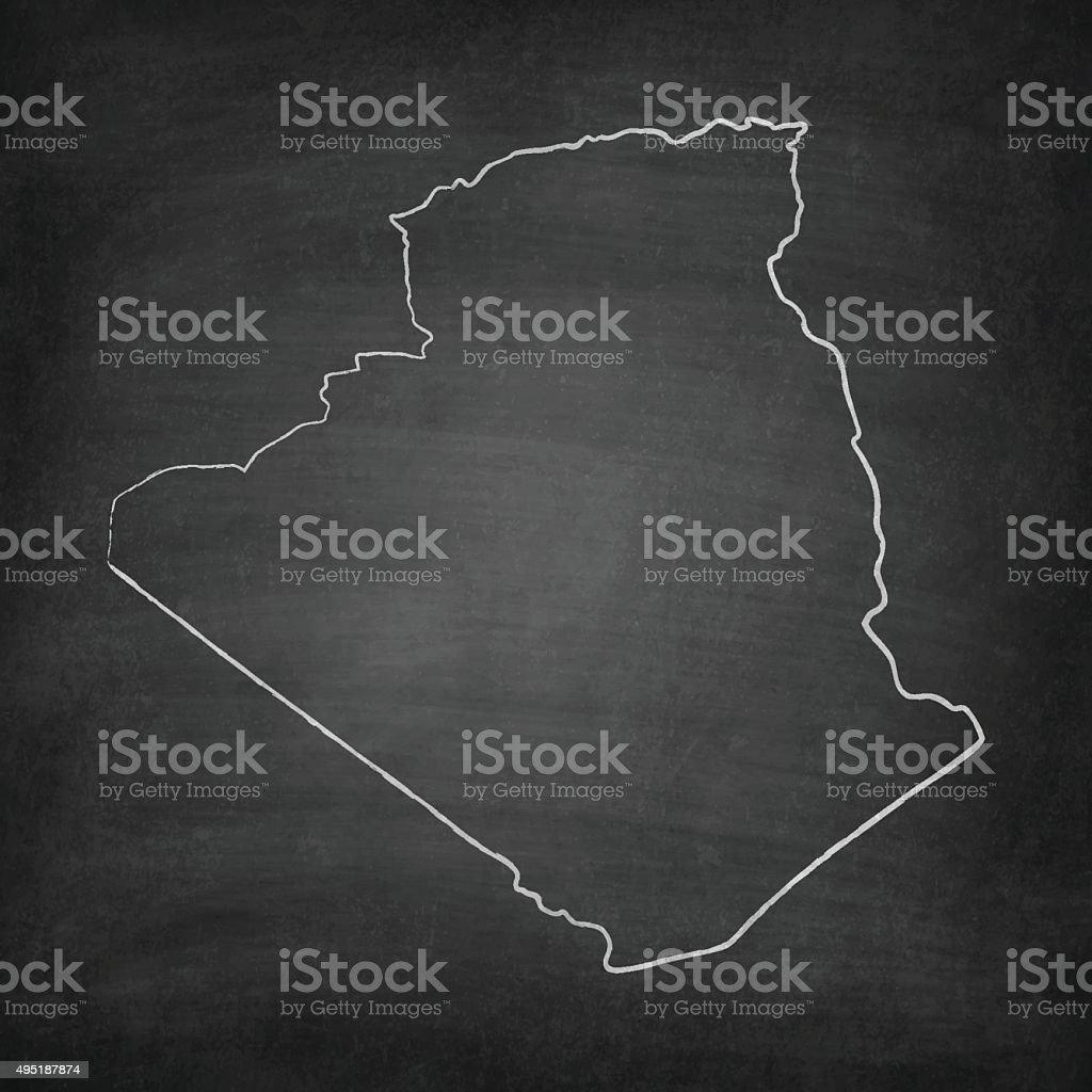 Algeria Map on Blackboard - Chalkboard vector art illustration