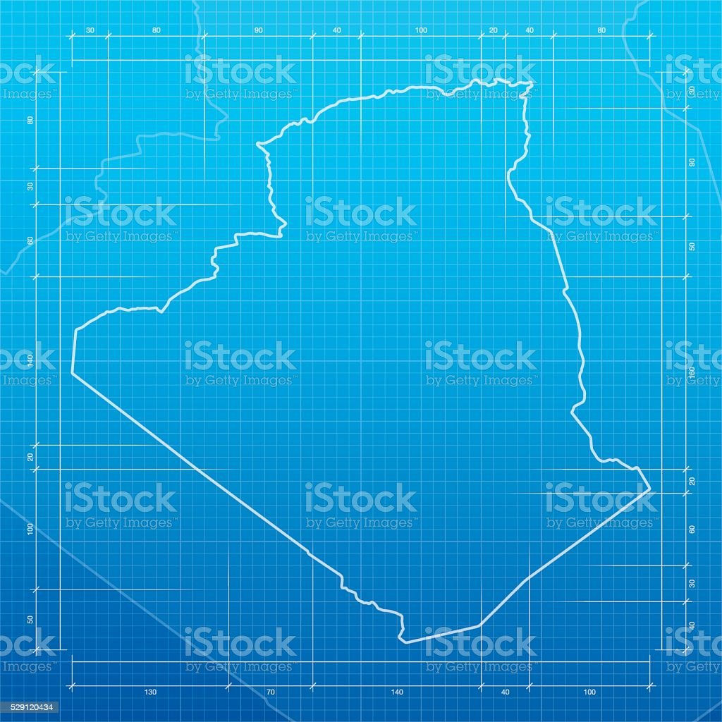Algeria  map on blueprint background vector art illustration