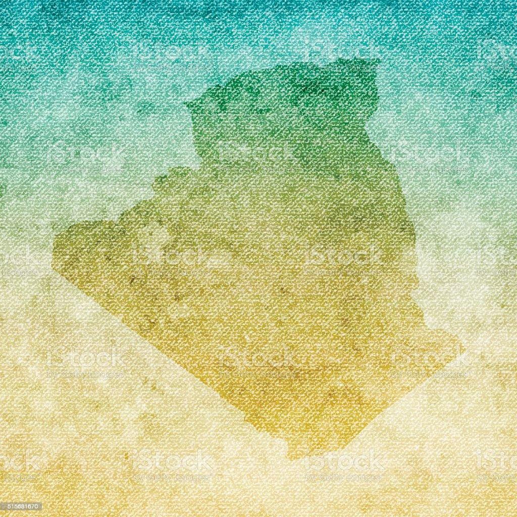 Algeria Map on grunge Canvas Background vector art illustration