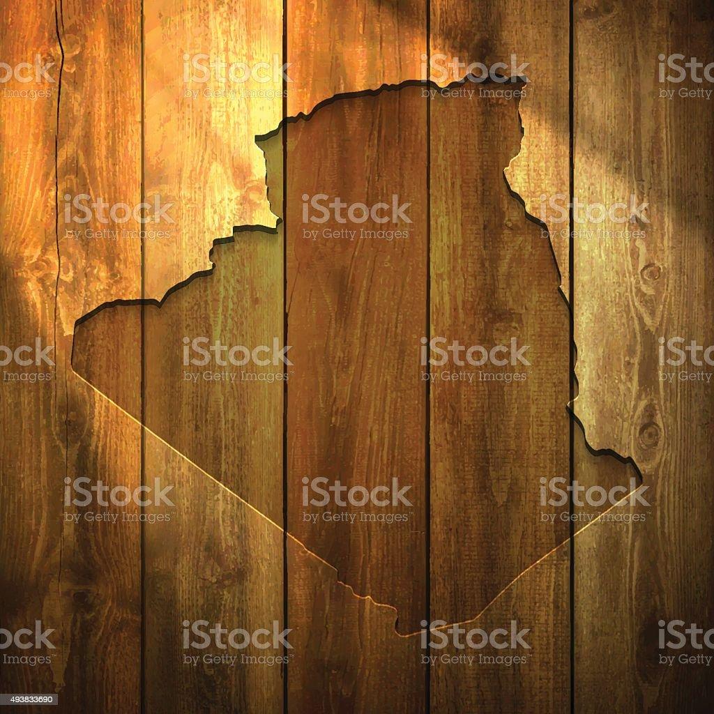 Algeria Map on lit Wooden Background vector art illustration