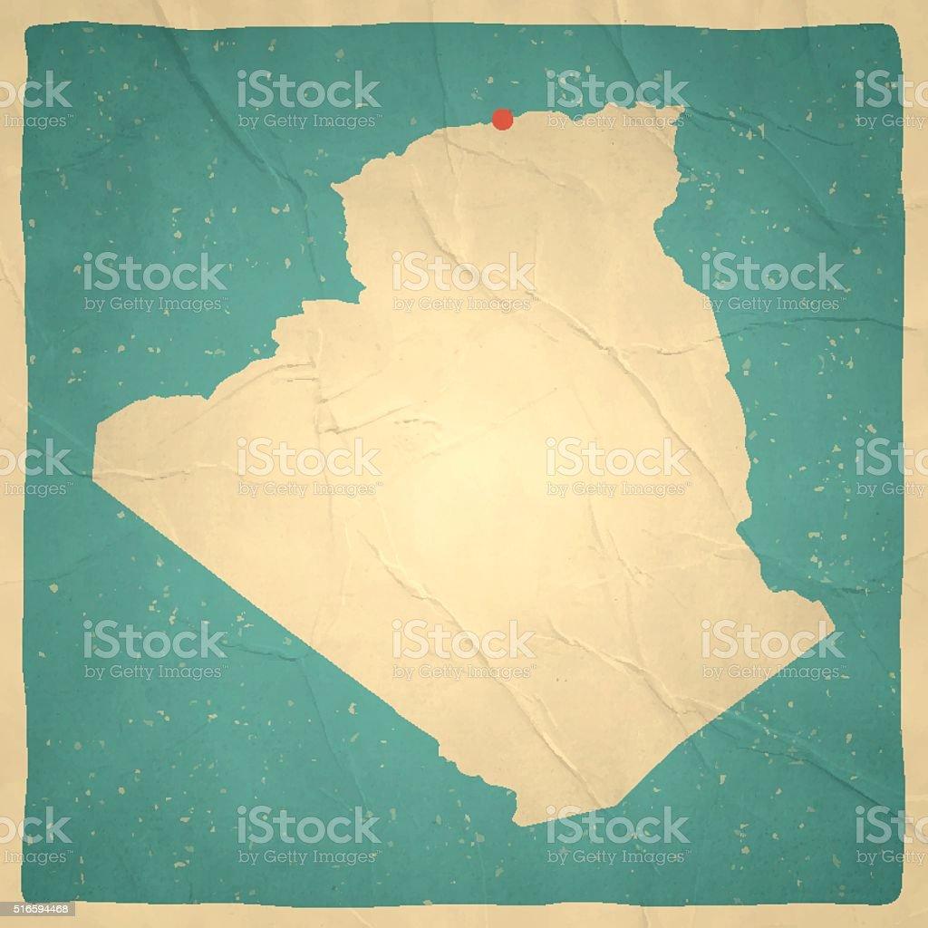 Algeria Map on old paper - vintage texture vector art illustration