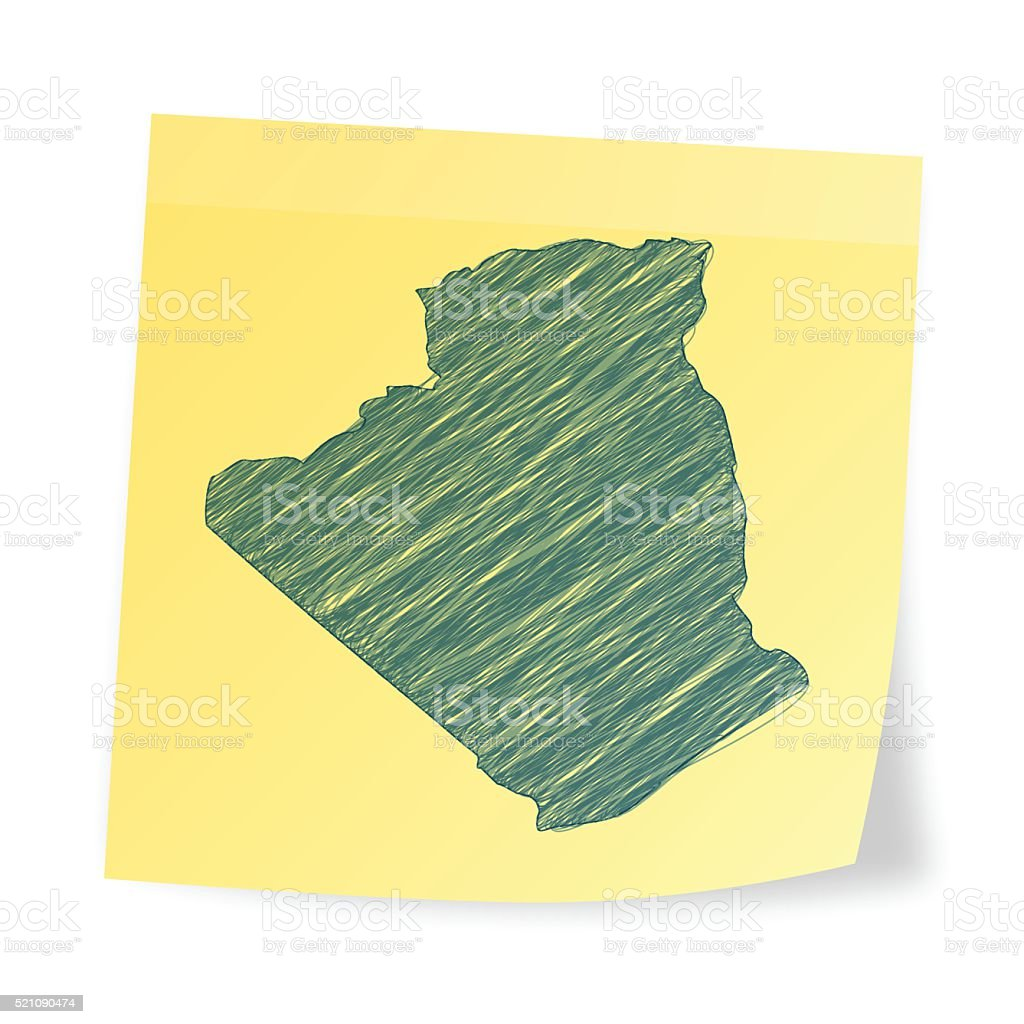 Algeria  map on sticky note with scribble effect vector art illustration