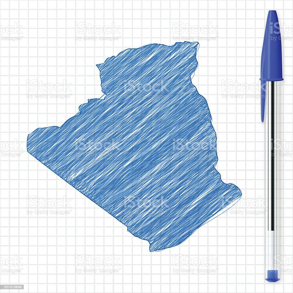Algeria map sketch on grid paper, blue pen vector art illustration