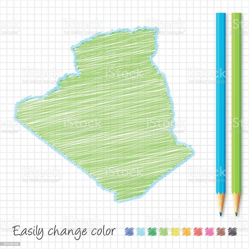 Algeria map sketch with color pencils, on grid paper vector art illustration
