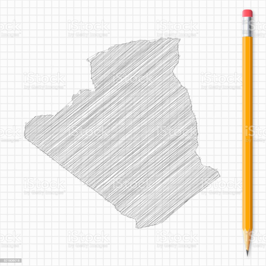 Algeria map sketch with pencil on grid paper vector art illustration