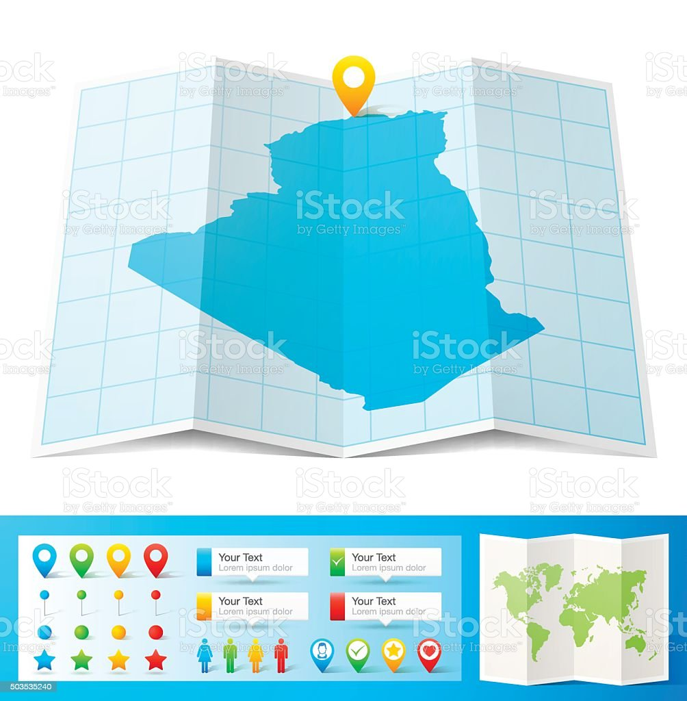 Algeria Map with location pins isolated on white Background vector art illustration