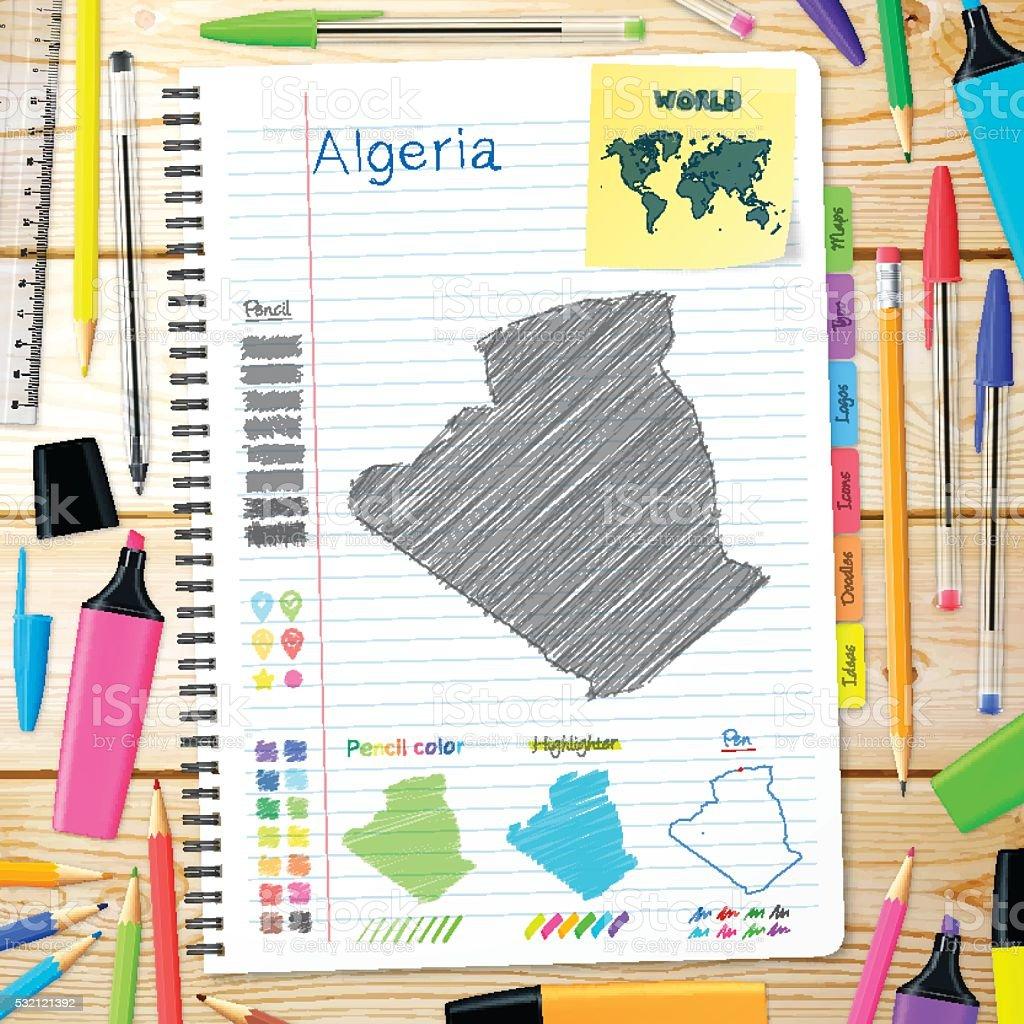 Algeria maps hand drawn on notebook. Wooden Background vector art illustration