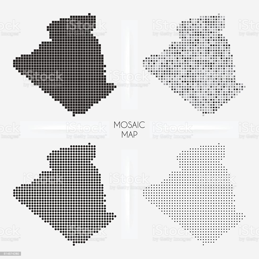 Algeria maps - Mosaic squarred and dotted vector art illustration
