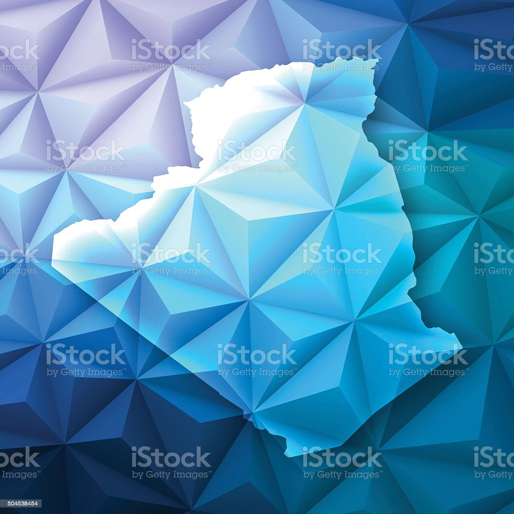 Algeria on Abstract Polygonal Background - Low Poly, Geometric vector art illustration