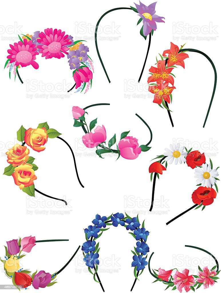 Alice bands with flowers vector art illustration