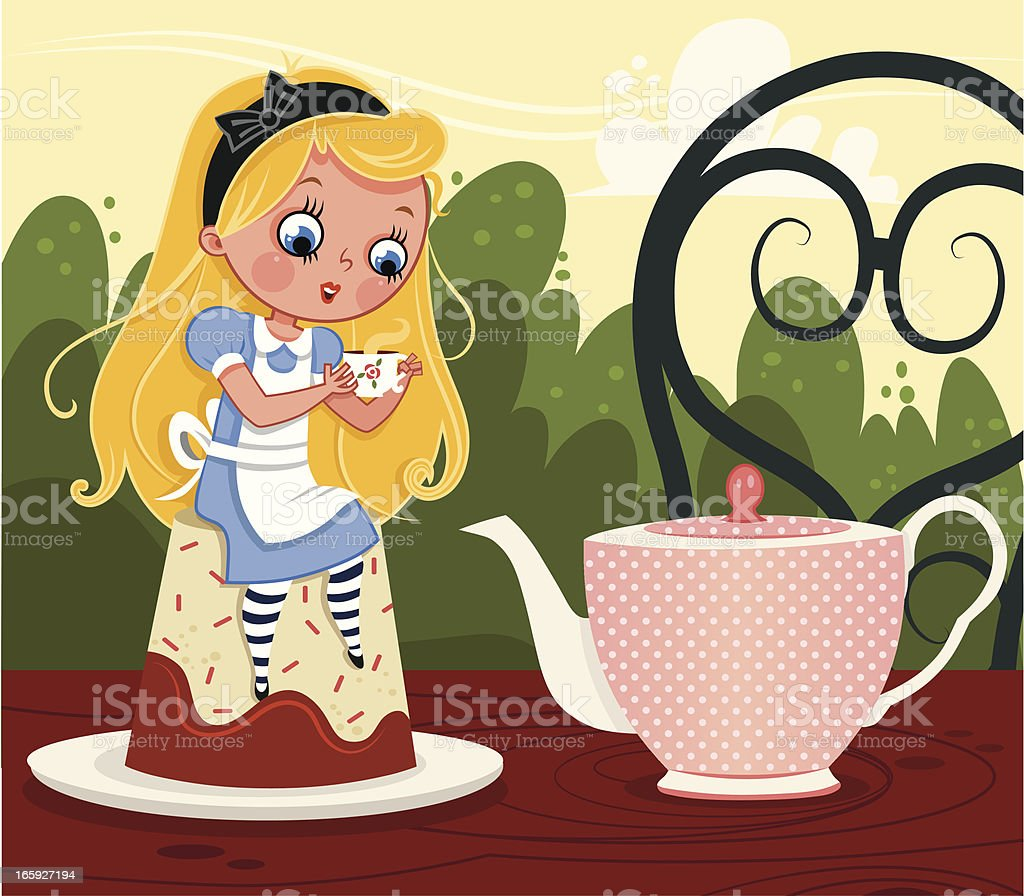 Alice in tea party royalty-free stock vector art