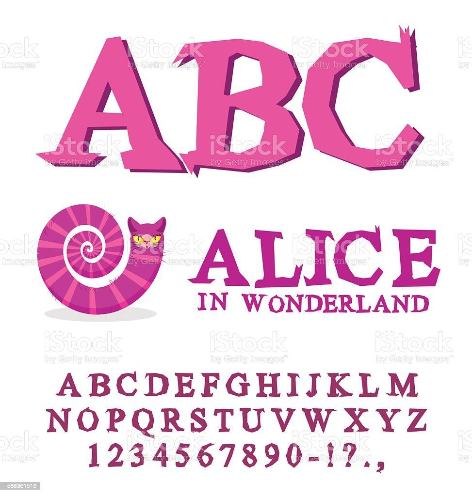 Alice in Wonderland font. Fairy ABC. mad Alphabet  Cheshire Cat. vector art illustration
