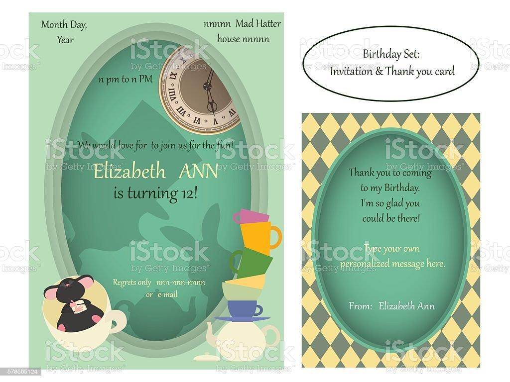 Alice in Wonderland. Mad tea party Birthday Invitation. vector art illustration
