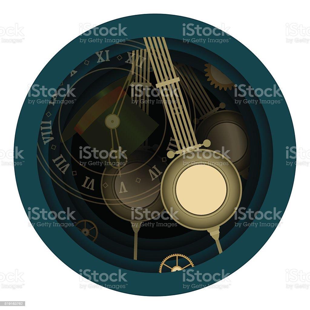 Alice in Wonderland. Mad tea party. Time, Hatter, Five clock. vector art illustration