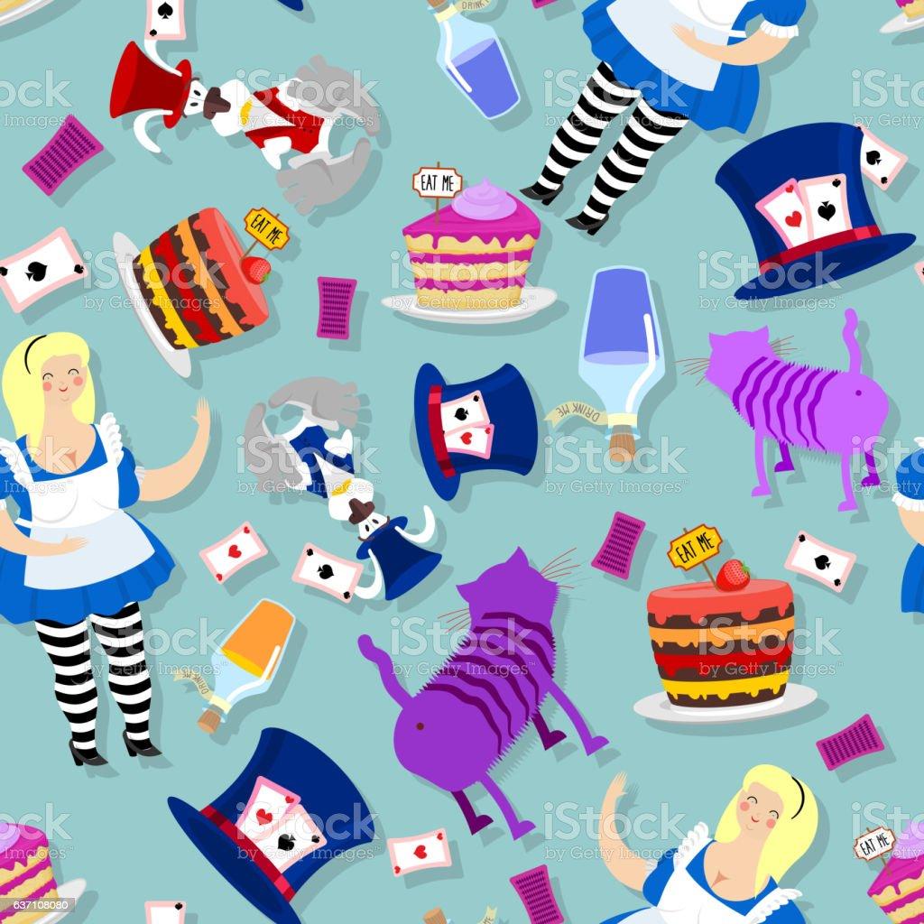 Alice in Wonderland pattern. Fat woman and Cheshire cat. Rabbit vector art illustration