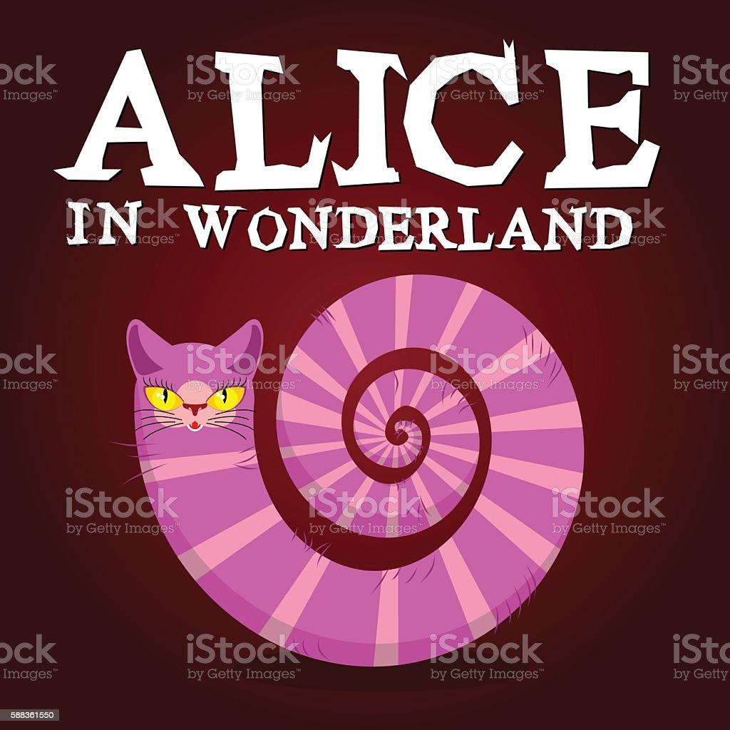 Alice in Wonderland title. Cheshire Cat. Fantastic animal. Fabul vector art illustration