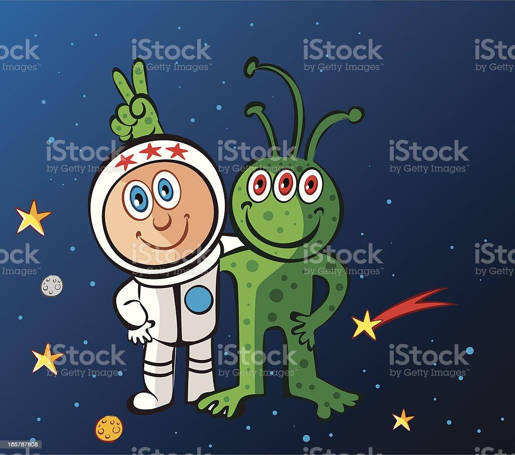 alien and astronaut royalty-free stock vector art