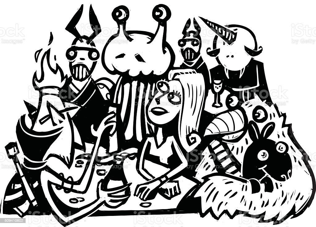 Alien bar and casino. vector art illustration