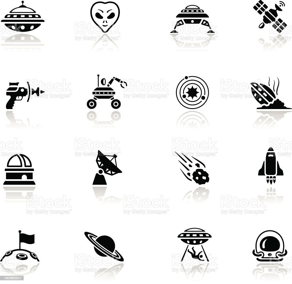 Alien Icon Set vector art illustration